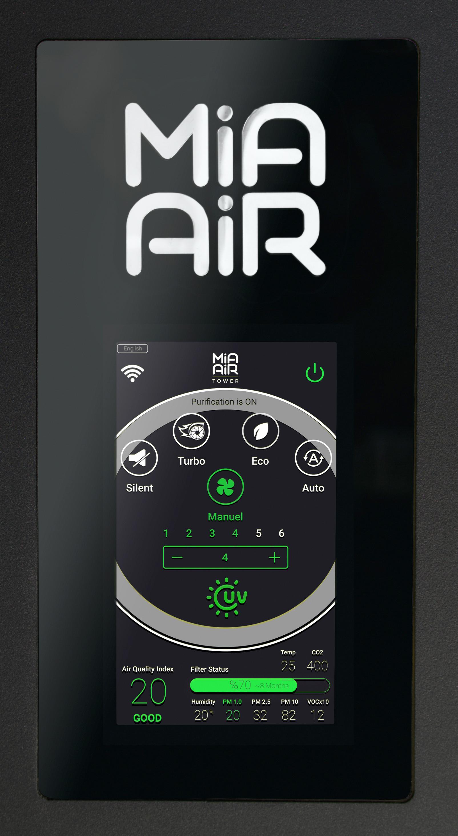 Mia Air Tower Display Hauptmenü